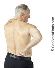 Half naked old man holding his nape and back isolated in a white background