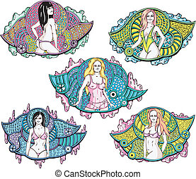 Half-naked pretty girls on decorative pattern background. Set of vector illustrations.