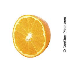 Half of a orange fruit isolated on white background