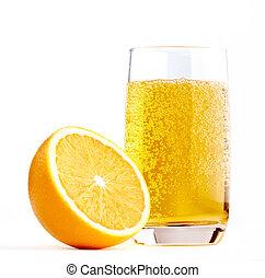 Half of A Orange with Glass of Lemonade