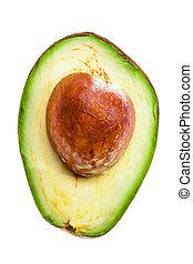 half of an avocado on a white