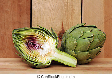 half of artichoke displayed at market place