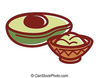 Half of avocado and small bowl of guacamole