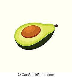 Half of avocado fruit cartoon vector Illustration