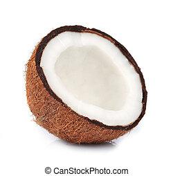 Half of coconut closeup