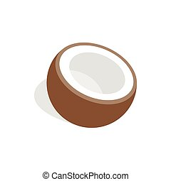 Half of coconut icon, isometric 3d style