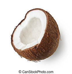 Half of coconut isolated on white background
