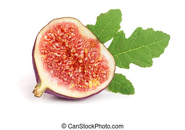 half of fig fruits with leaves isolated on white background