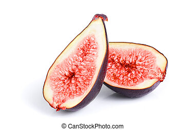 half of fresh fig fruit isolated on white background