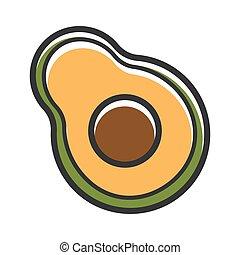 Half of fresh organic avocado isolated cartoon illustration