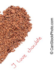 Half of heart from grated chocolate on white background