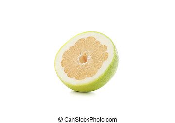 Half of juicy ripe pomelo isolated on white background