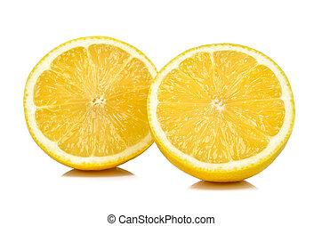 Half of lemon isolated on white background