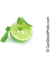 half of lime and mint isolated on white