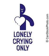 Half of man icon with heart lonely and missing his mate lover girlfriend, divorce breakup and loneliness vector concept symbol, stylish illustration of broken relations.