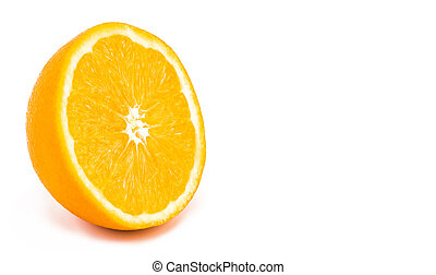 half of orange isolated on a white background  with copy space