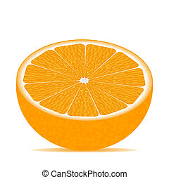 Half of orange isolated on white