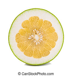Half of pomelo citrus isolated on white background