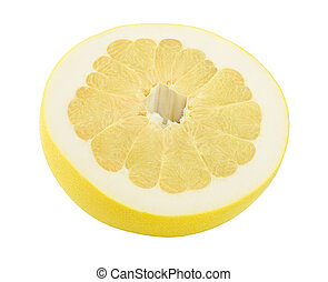 half of pomelo isolated on white background