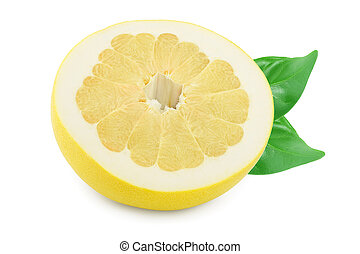 half of pomelo with leaf isolated on white background