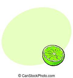Half of ripe green lime, sketch vector illustration