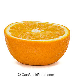 Half of ripe orange, isolated on white background