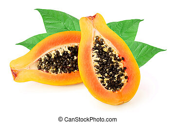 half of ripe papaya with leaves isolated on a white background