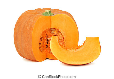 Half of ripe pumpkin with one slice (isolated)