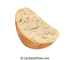 Half of the muffin of bread on white background