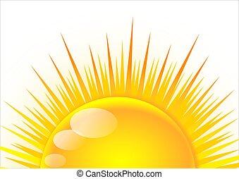 Half of the sun at sunrise as an illustration
