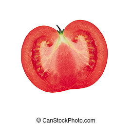Half of the tomato. Isolated on white background