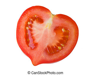 Half of tomato isolated on a white background