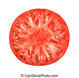 Half of tomato isolated on the white background