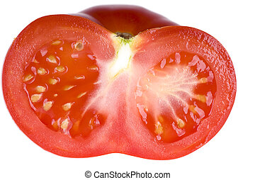 Half of tomato isolated on white background