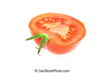 half of tomato isolated on white