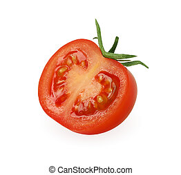 Half of tomato isolated on white, with clipping path.