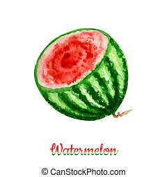 Half of Watermelon berry fruit watercolor hand drawn illustration, fresh healthy food - natural organic food isolated on white background.