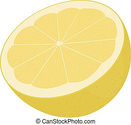 half of  yellow lemon isolated on white