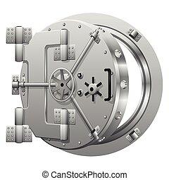 Half-open bank vault door on white