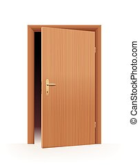 Half open door - wooden optic - dark room indoors. Vector illustration on off-white to white gradient background.
