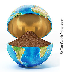 Half open globe with soil isolated on white background. 3D illustration