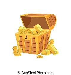 Half Open Pirate Chest With Golden Bars, Hidden Treasure And...