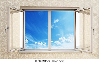 Half open windows inside an empty room opening to blue sky. 3D illustration