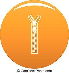 Half opened zip icon vector orange