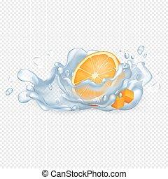Half Orange Fruit in Clean Water Drops Vector