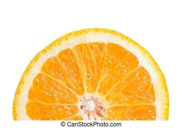 half orange slice on white background