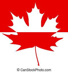 Half painted Maple Leaf Silhouette