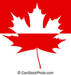 Half painted Maple Leaf Silhouette