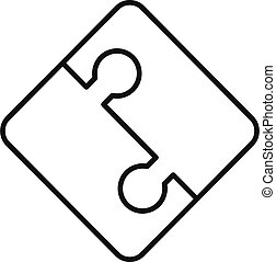 Half part puzzle icon, outline style