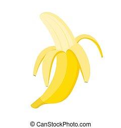 Half peeled banana on white background, vector illustration